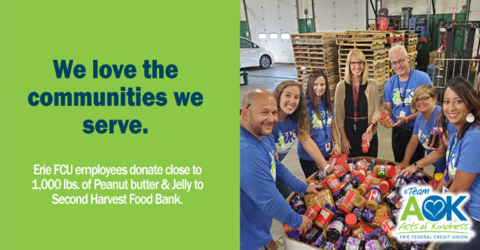 Erie FCU at 2nd Harvest Food bank delivering a 1000 pounds of peanut butter and jelly