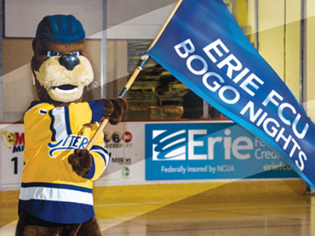 Erie Otter Bogo Nights Mascot with Flag