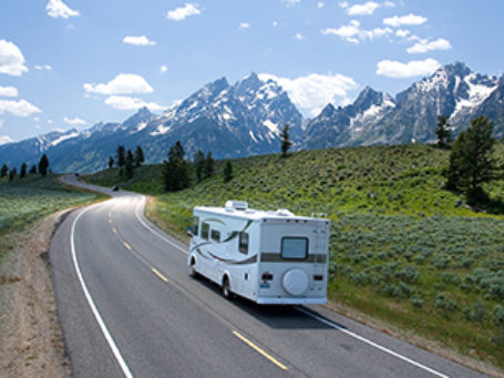 Rv On Road Mountain Scene Fp
